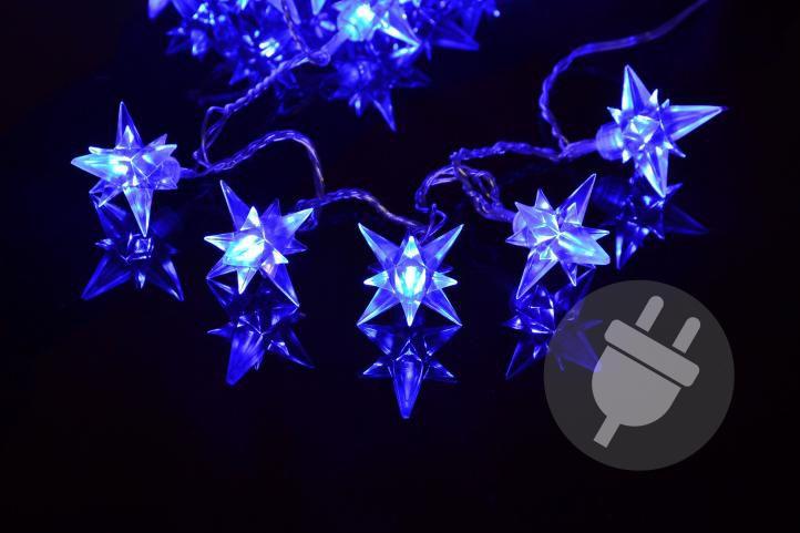 Vianočné LED osvetlenie - modré hviezdy, 4 m