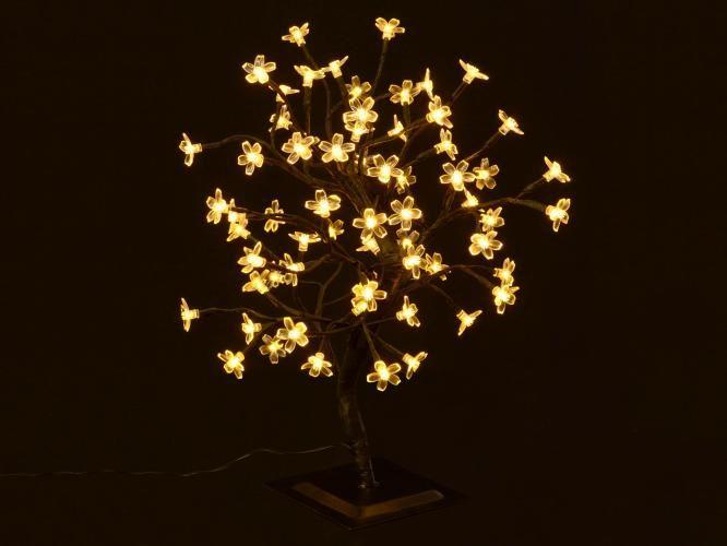 Dekoratívny LED strom s kvetmi, teple biely