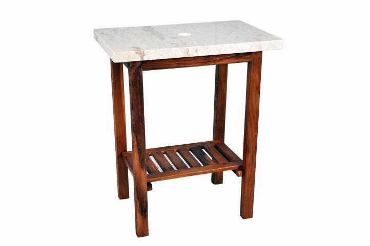 Kúpeľňový stolík pod umývadlo DIVERO – teakové drevo + mramorová doska biela