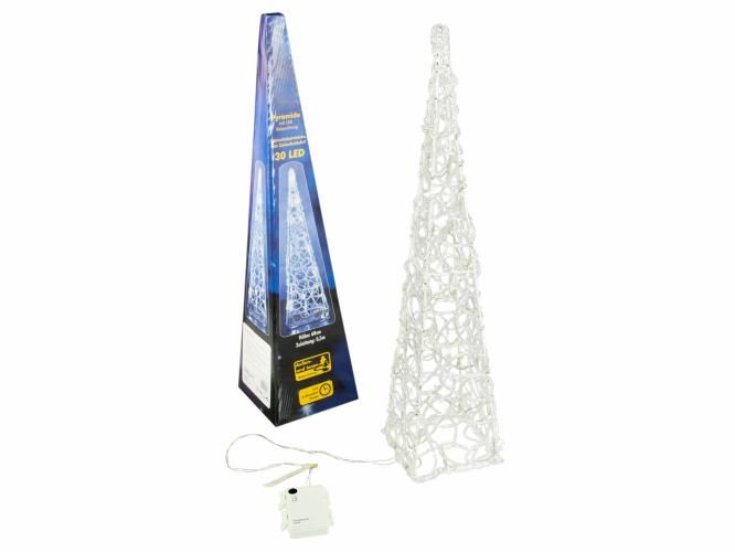 Vianočný akrylový ihlan 60 cm - studeno biely, na batérie
