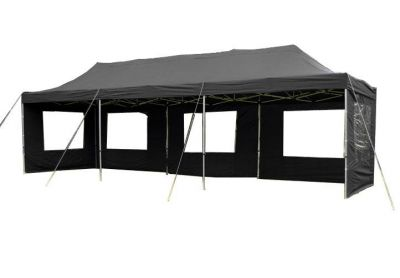 Záhradný párty stan čierny pavilón 3 x 9 m + bočné diely