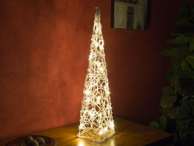 Vianočný akrylový ihlan 60 cm - teple biely, do zásuvky