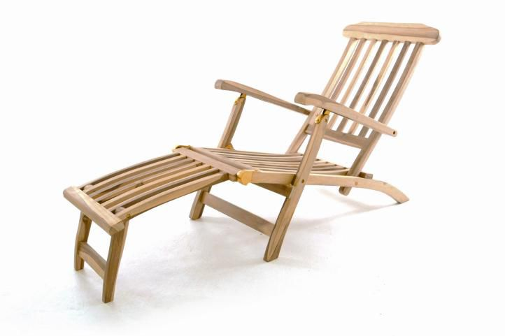 Záhradné drevené lehátko Diver Florentine s podnožkou - teakové drevo