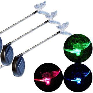 Záhradné solárne LED osvetlenie Motýľ, 3 ks