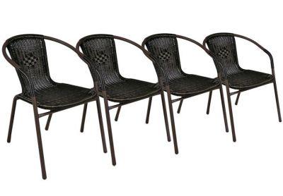 Sada 4 kusov polyratanových záhradných stoličiek Garth – tmavo hnedá
