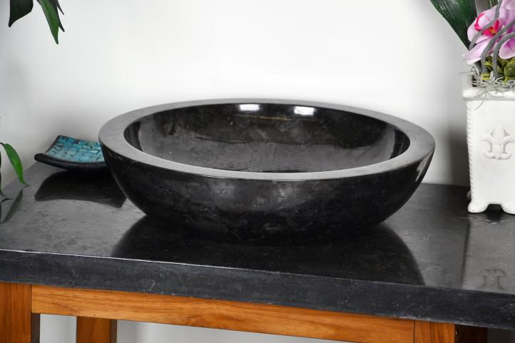 Kamenné umývadlo - čierny leštený mramor DIVERO