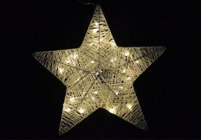 Vianočná dekorácia - vianočná hviezda - 35 cm, 30 LED diód