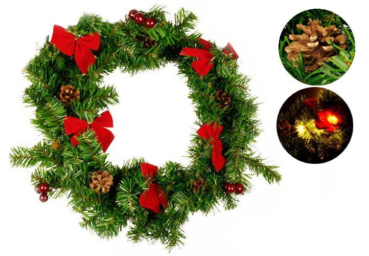 Vianočná dekorácia - Vianočný veniec - 20 LED diód, 40 cm