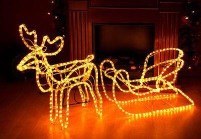 Svietiaci vianočný sob - LED svetelná dekorácia - 140 cm