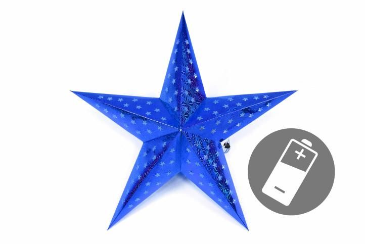Vianočná hviezda s časovačom 60 cm, 10 LED, modrá