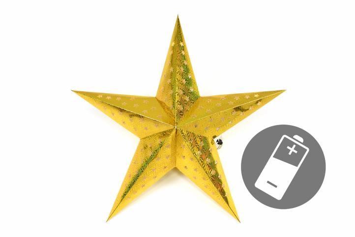 Vianočná hviezda s časovačom 60 cm, 10 LED, zlatá