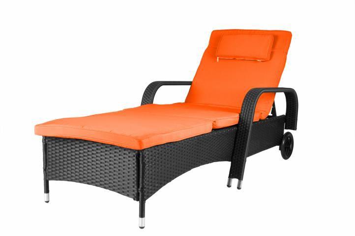 Luxusné záhradné ležadlo - oranžové
