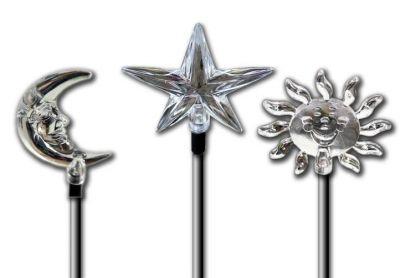 Solárne dekoratívne LED svietidlá, motívy - slnko, mesiac, hviezda