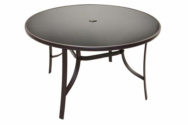 Záhradný stôl so sklenenou doskou Bistro, 120 cm guľatý