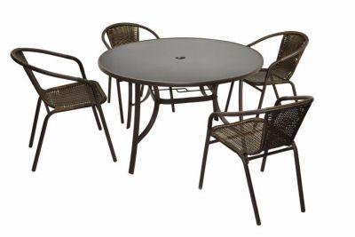 Bistro stolík a 4 stoličky z polyratanu Garth