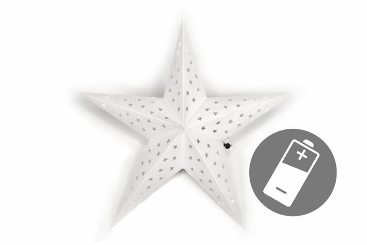 Vianočná hviezda s časovačom 60 cm, 10 LED, biela