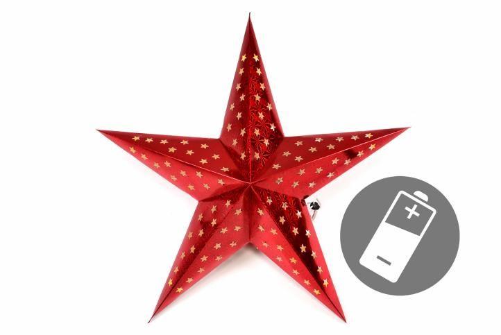 Vianočná hviezda s časovačom 60 cm, 10 LED, červená