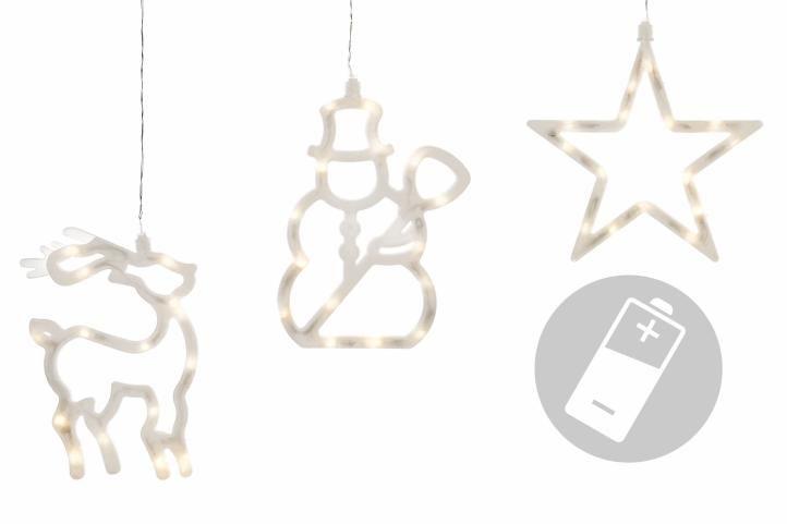 Vianočné dekorácie na okno - hviezda, snehuliak, sob
