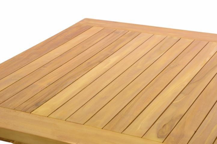 DIVERO drevený záhradný stôl, teakové drevo, 80 x 80 cm
