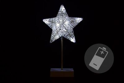 Vianočná dekorácia - hviezda na stojane, 40 cm, 10 LED