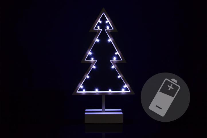 Vianočná dekorácia - stromček - studená biela, 20 LED, 38 cm