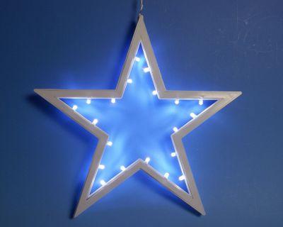 Vianočná dekorácia - závesná hviezda - studená biela 25,5 cm 20 LED