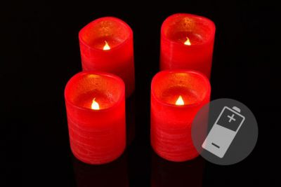 Dekoratívna LED sada - 4 adventné sviečky - červená
