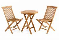 Luxusný balkónový set z teakového dreva, 1 stôl + 2 skladacie stoličky