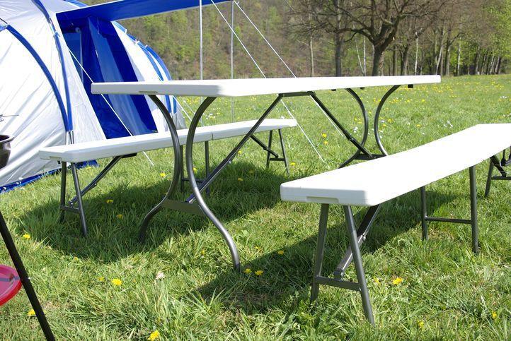 Skladací záhradný stôl Garth + 2 lavice