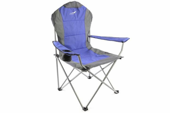 Skladacia kempingová stolička Divero Deluxe – modrá / sivá