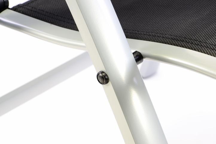 Extra široká záhradná stolička polohovateľná - čierna
