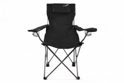 Skladacia kempingová stolička DIVERO s vankúšikom – čierna