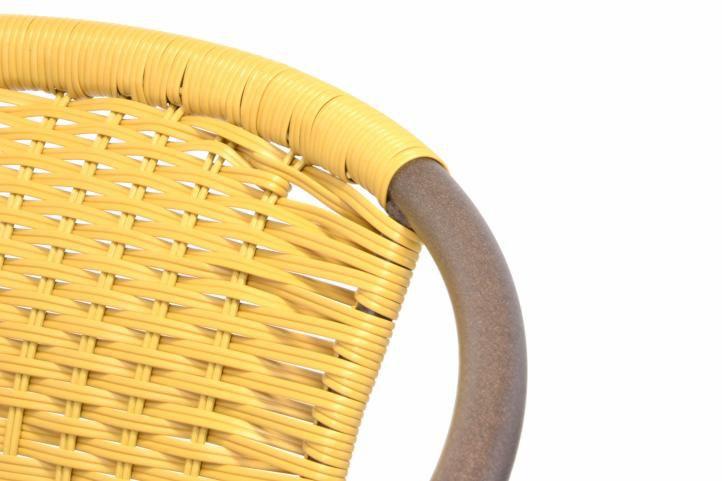 Sada 2 ks bistro židlí stohovatelné s polyratanovým výpletem béžové