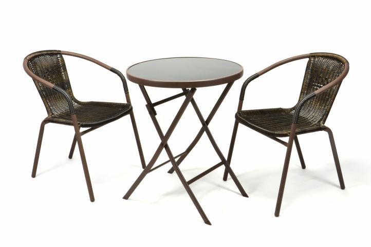 Záhradný balkónový set skladací bistro stolík + dve stoličky