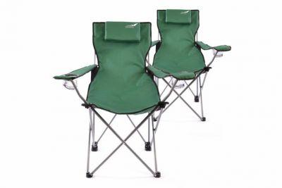 Sada 2 ks skladacia kempingová stolička DIVERO s vankúšom - zelená