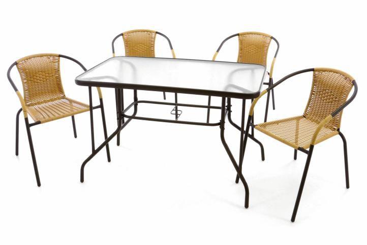 Záhradný set - 4 polyratanové stoličky a sklenený stôl