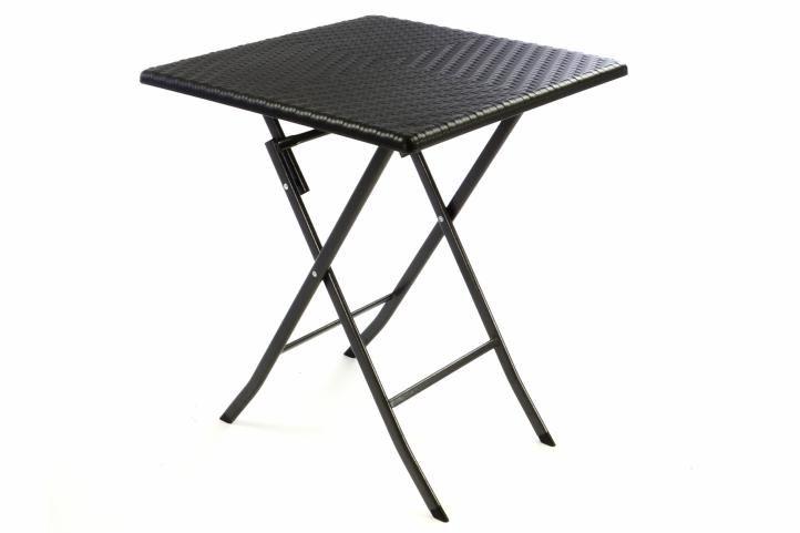 Skladací záhradný stôl ratanového vzhľadu 75 x 61 x 61 cm