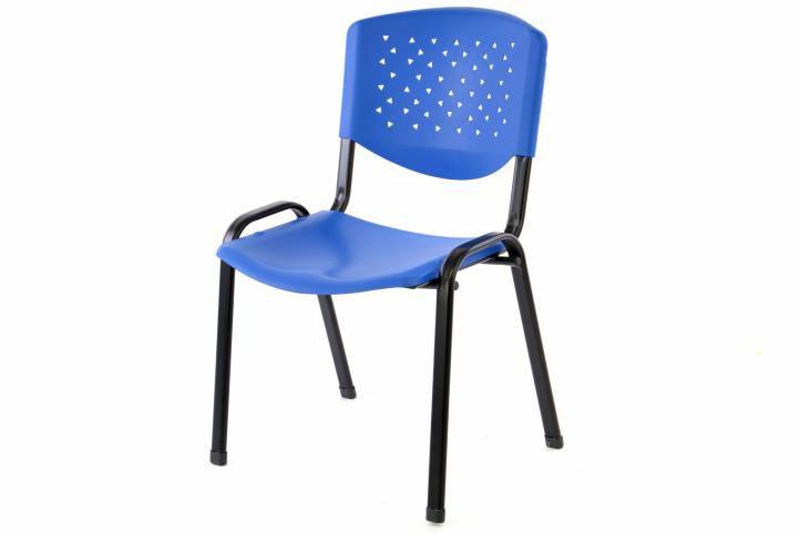 Stohovateľná plastová kancelárska stolička - modrá