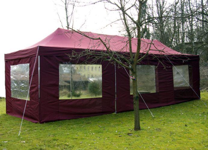 Záhradný skladací stan - vínový, 3 x 9 m