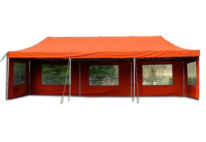 Záhradný skladací stan - terakota, 3 x 9 m
