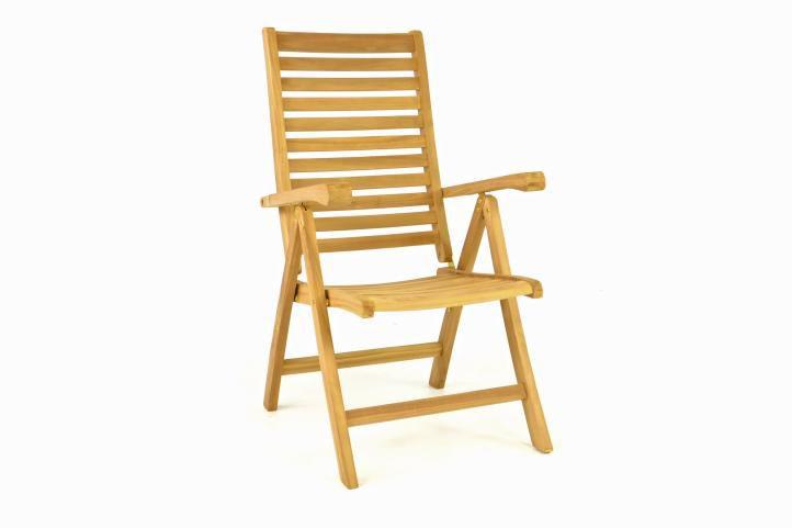 Drevená polohovateľná stolička DIVERO - teakové drevo