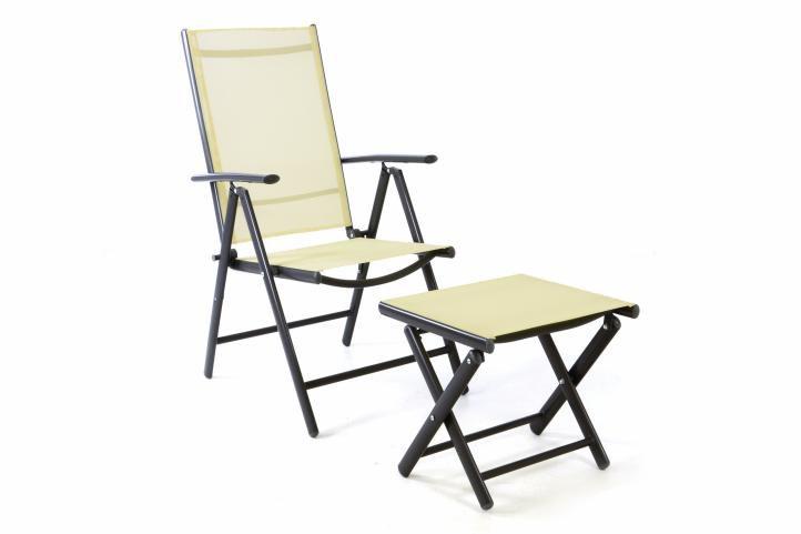 Záhradná polohovateľná stolička + stolička pod nohy - krémová