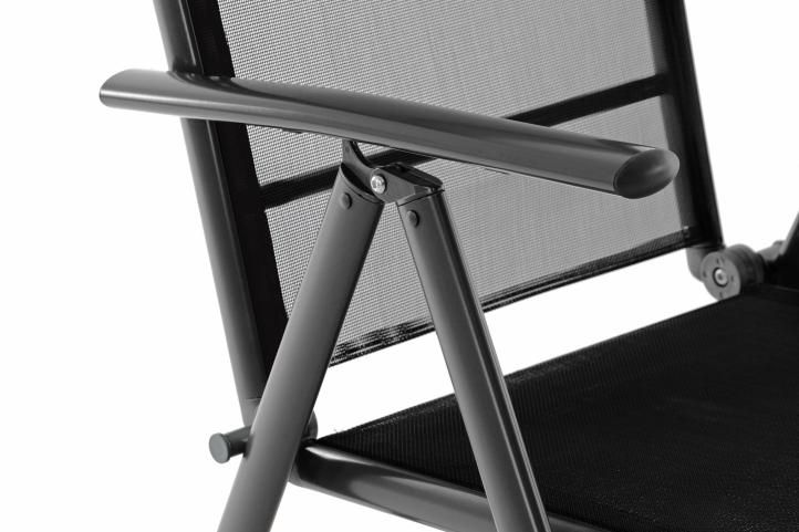 Záhradná hliníková stolička - čierna