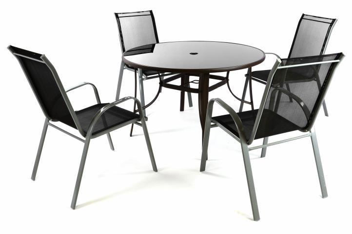 Záhradný set - 4 stoličky a stôl - čierna