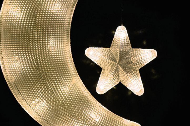 Vianočná dekorácia – mesiac s hviezdou – studená biela