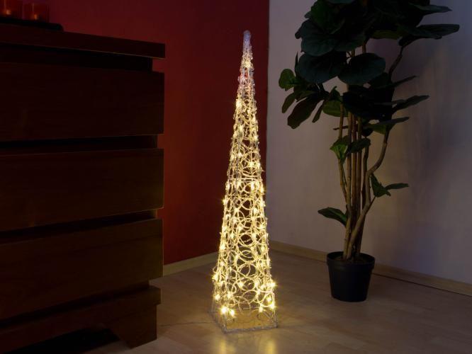Vianočný akrylový ihlan 90 cm - teple biely, do zásuvky