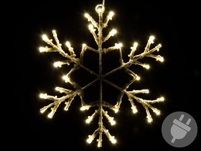 Vianočná LED dekorácia - snehová vločka - 30 cm teplá biela