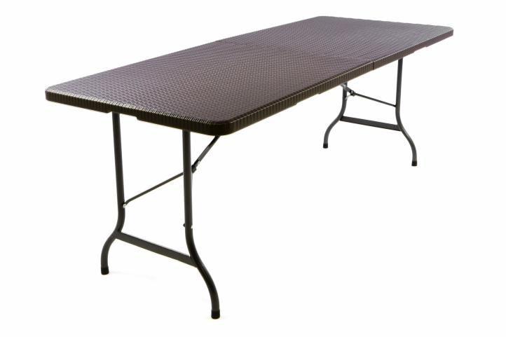 Záhradný skladací stôl v ratanovom vzhľade - 180 x 75 cm