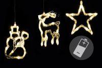 Vianočná dekorácia na okno - hviezda, snehuliak, sob - LED CLEAR