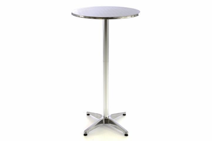 Barový stôl 115 cm okrúhly - strieborný